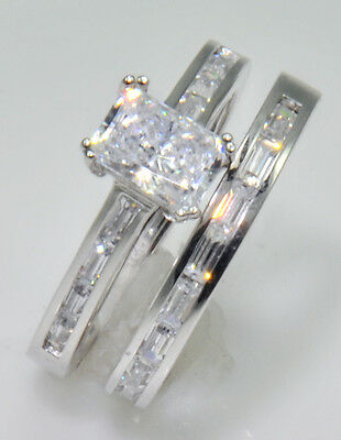 Other Fine Rings 1 Ct Radiant Channeled Baguettes & Band Top Russian Aaaaa Quality Cz 7