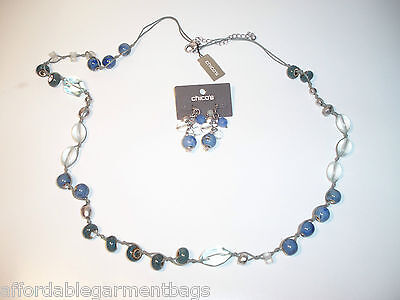 Chico's Sold Out Aqua Ocean Blue Long Necklace Matching Blue Cluster Earrings