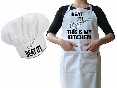 Personalised Chef Hat & Apron Beat It! It's My Kitchen Funny Novelty Luxury Gift