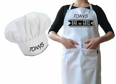 Personalised Chef Hat & Apron Brilliant For Cafes Bars Funny Novelty Luxury Gift