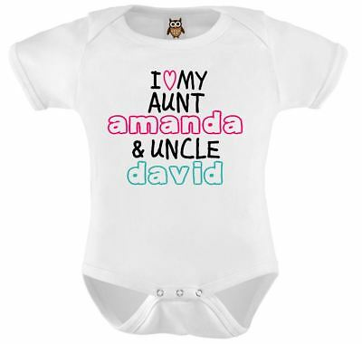Personalised Baby Vest I Love My Auntie & Uncle Named Baby Onesie Bodysuit Gift