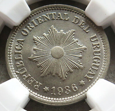 1936 A Uruguay 2 Centesimos Ngc Mint State 66 Pop: 2/0 Lissner Collection