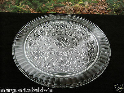 """Vintage Indiana Glass Clear Sandwich 13"""" Cake Plate Platter Tray"""