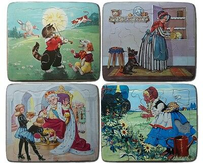 Vintage SET OF 4 Frame Tray Puzzles - The P & M Co. Old Mother Hubbard & More