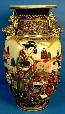 VINTAGE JAPANESE MORIAGE SATSUMA EARTHENWARE VASE with RELIEF MOLDED FIGURES