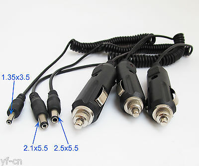 1pc Car Cigarette Lighter Power Supply to DC Plug 1.3 x3.5/2.1&2.5x5.5mm Cable