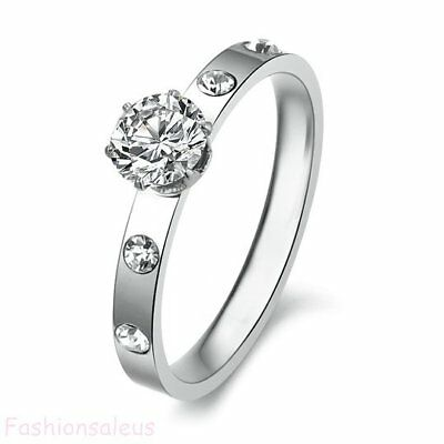 Stainless steel Ring Cubic Zirconia Women Love Wedding Engagement Band Gift