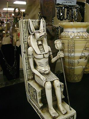 Uniqe Large  Egyptian  GOD ANUBIS with Ankh   Hand Carved    Made in Egypt