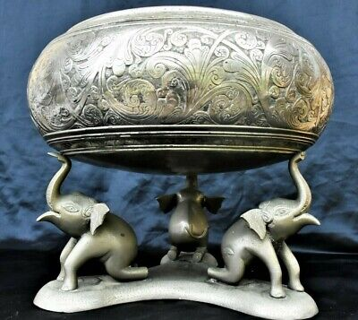 Large Very Heavy Antique Engraved Design Silver Plated Bowl India
