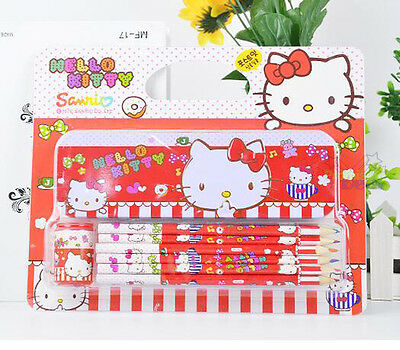 Cute Kids Hello Kitty 3in1 Set Pencil Case+Pencil+Pencil sharpener Stationery