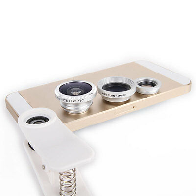 Universal 3in1 Fish eye Macro Wide Angle Lens for All phones iPhone 6 Plus 6 5S