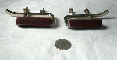 Set of 2 art deco bakelite TESTED and metal Pull handles knobs 108 grams(s10403)