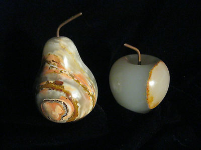 Pair of Vintage Apple and Pear Art Glass Paperweights