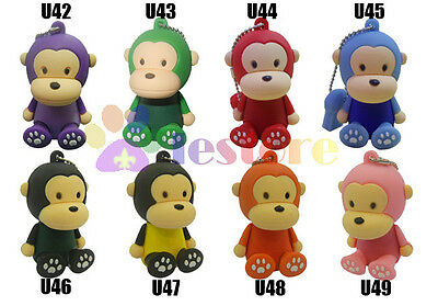 3D 4GB 4G Silicone Playing Setting Monkey Flash Memory stick Pen Drive USB 2.0