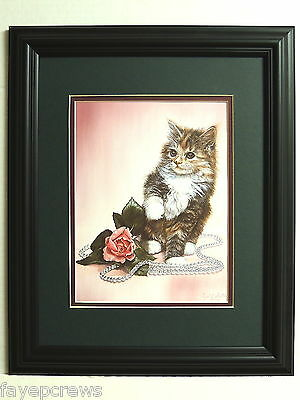 Cat  Picture Kitty Cat Rose Pearl Kitten  Beads Matted Framed 11X14