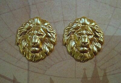 Small Raw Brass Lion Head Stampings (2) - SG7857
