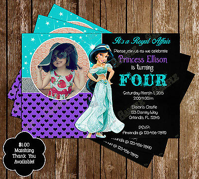 Disney Princess Jasmine - Aladdin - Birthday Invitations - 15 Printed W/envelope