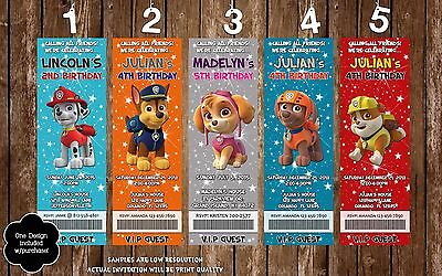 Paw Patrol Birthday Ticket Invitation - 20 Printed W/envelopes