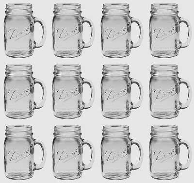 Bridal Wedding Set 12 USA Mason 16oz Jar Drinking Glasses Mugs Emb BALL MASON