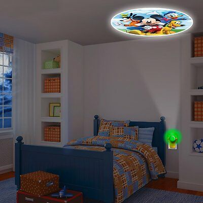 Mickey Mouse Projecting LED Plug in Night Light ColorFull Wall Ceiling Kids Room