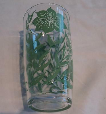 Vintage  H  Drinking  Glass  Green  Flowers
