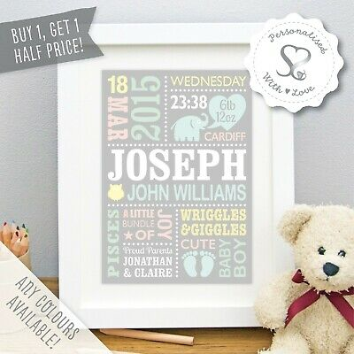 Personalised Baby Print Birth Details Nursery Art Christening Gift Cute Elephant