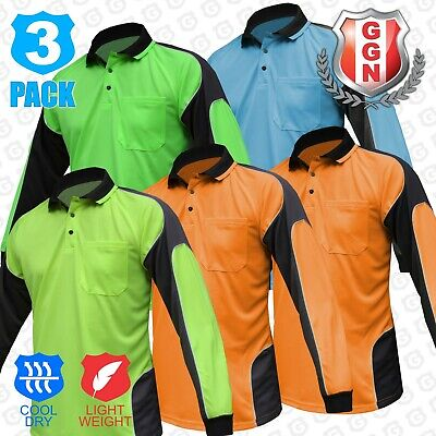 3x HI VIS POLO SHIRT PANEL WITH PIPING,FLUORO WORK WEAR COOL DRY,LONG SLEEVE