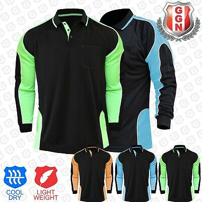 Hi Vis Polo Shirt Hivis Arm Panel Fluoro Workwear Cool Dry Long Sleeve