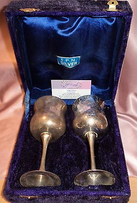 Vintage ~ Boxed Silver Plated Goblet Set ~ Estate Collectable
