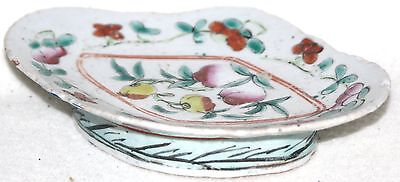 Early to Mid 19th Century Chinese Polychrome Over Glaze Enameled Oval Taza Plate