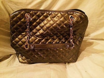 BIG BUDDHA Women's Ginger Gunmetal Gold Bow Quilted Chain Tote Purse MSRP$95