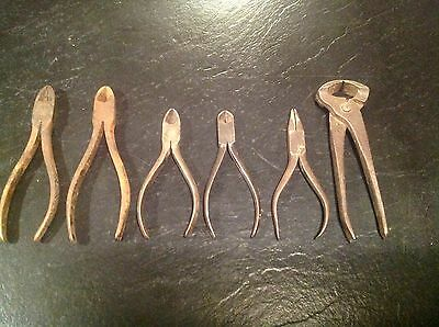 Antique Vintage Set Lot of 6 Metal Wire Cutters