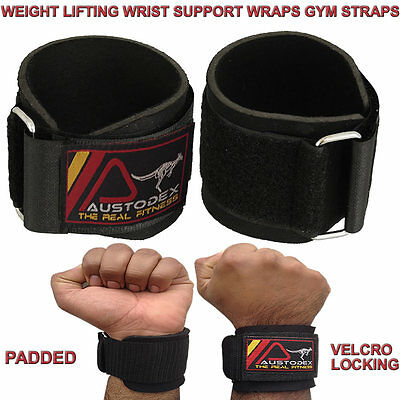 Austodex Weight Lifting Gym Training Wrist Support Straps Bandage Bar Wraps New