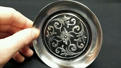 Vintage Stainless Coasters Plates 4 Count Silver Black Antiques Made In Japan