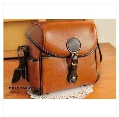 PU Leather Camera Case Bag For Canon 550D  DSLR Shoulder Brown Vintage