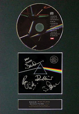 PINK FLOYD The Dark Side... Signed Autograph CD & Cover Mounted Print A4 60