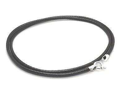 "2mm Black Waxed Cotton Cord & Sterling Silver Necklace 14"" 16"" 18"" 20"" 22"" 24"""