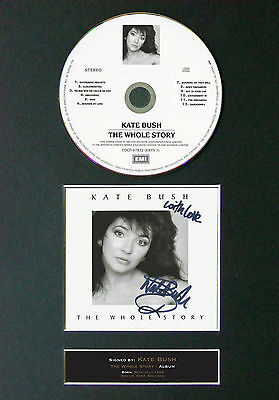KATE BUSH The Whole Story Signed Autograph CD & Cover Mounted Print A4 56