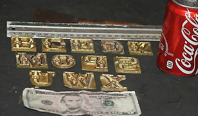Letter Press Plate Font metal type face Vintage LOT of 12 ORNATE TYPOGRAPHIC OLD