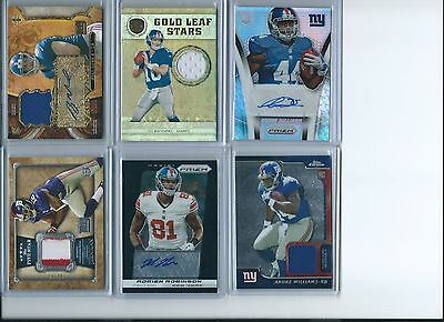 New York Giants Auto Patch RC Lot Eli Manning Ryan Nassib Andre Williams Prizm
