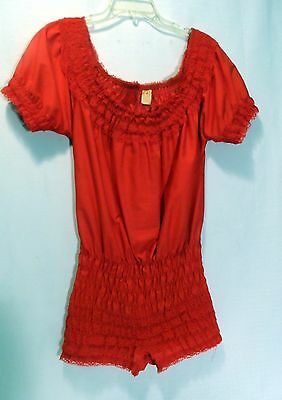 Partners Please Square Dance Red Peasant Bodysuit Blouse Bloomers Pettipants, Sm