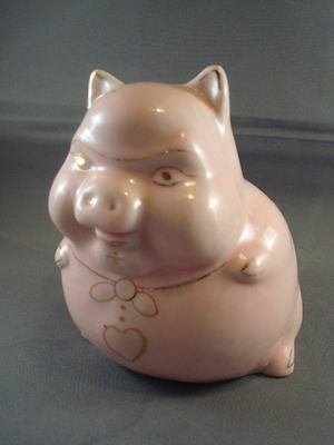 Vintage Pink Sitting Down Piggy Bank Gold Accents