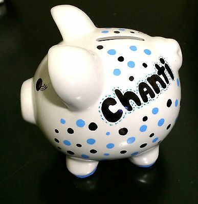 Hand-Painted Medium Size Personalized Ceramic Piggy Bank-Polka Dot, Name Message