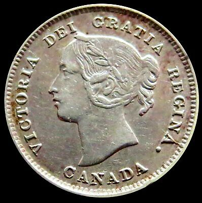 1893 Silver Canada Victoria Five Cent Coin Extremely Fine