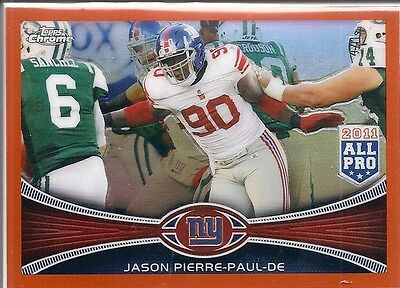 2012 Topps Chrome JASON PIERRE-PAUL New York Giants Orange Refractor # 76