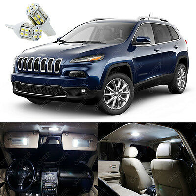 11 x Xenon White LED Interior Lights Package Deal For Jeep Cherokee 2014 - 2015