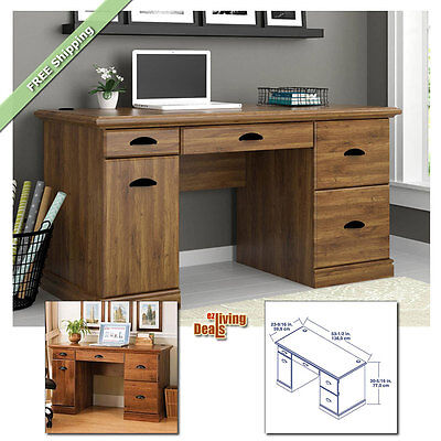 Computer Desks for Home Office with Storage Table Wood Furniture Desk, Abby Oak