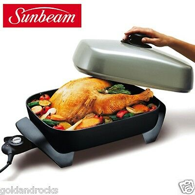 NEW Non Stick Electric Frypan & Lid Large Sunbeam Family Banquet Family Size