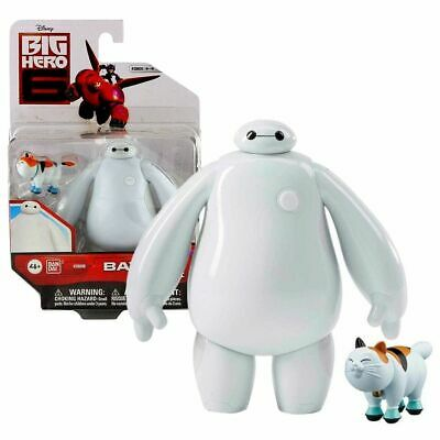 """Disney BIG HERO 6 - 4"""" Figure with Accessory - White BAYMAX with Mochi the Cat"""
