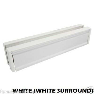 Upvc Door Letterbox Letter Plate Anti Snap White (White Surround)